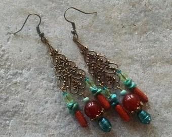 Gemstone chandelier earrings, Bohemian gypsy hippie long Antique gold red agate teal green pearl, turquoise chandelier earrings