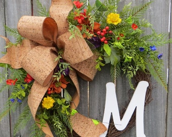 Wildflower Wreath - Wreath for Spring and Summer - Letter Wreath,  Cork Wreath with Letter, Door Wreath, Front Door Wreath