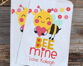 Valentines Day Bumble Bee Mine Personalized Goodie Cookie Paper Bags for Valentine's Day Boys Party Favors, or Giveaways