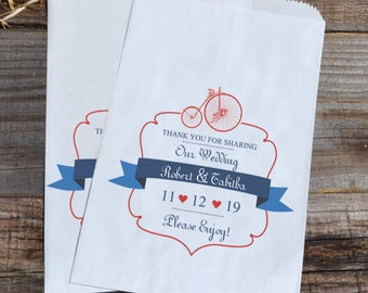 Wedding Bicycle Personalized Bags, Old Fashioned Wedding Favor Bags, Country Wedding Candy Bag, Candy Bar, Paper Bag
