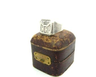 Signet Ring. Art Deco Monogram Initials, Genuine Diamond, Sterling Silver. Engraved CCP. Geometric, Vintage 1930s Art Deco Jewelry. SZ 9.5