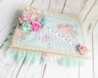 Roses Keepsake Box, Shabby Chic Box, Roses Wood Box, Wedding Keepsake Box, Pink Roses, Cottage Chic Box, Handmade Box, Floral Fabric Box