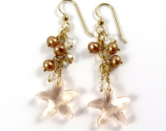 Swarovski Crystal Starfish Earrings, Gold Chain Dangle, Champagne Pearls, Holiday Jewelry, Gift Idea For Her, Hawaii Beach Jewelry, Crystals