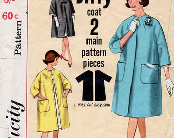 1960s Reversible Jiffy Coat Pattern Simplicity 4738 Vintage Sewing Pattern Easy Collarless Knee Length Coat with 3/4 Kimono Sleeves Bust 32