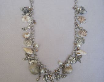 Call of the Ocean with Silver Turtles, Star Fish, Sand Dollars, Sea Horses, Octopi and Real Sea Shells Necklace