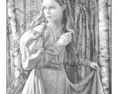 Lina in the Silver Wood -Grayscale Coloring PDF