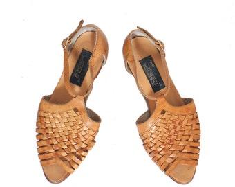 6 | Woven Leather Peep Toe Sandals