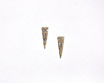 14k Baguette Diamond Dagger Stud/Earrings