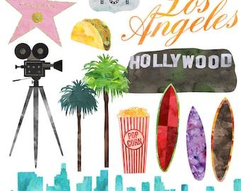Los Angeles Hollywood Clip Art, Watercolor LA Clip Art American Cities, Commercial Use