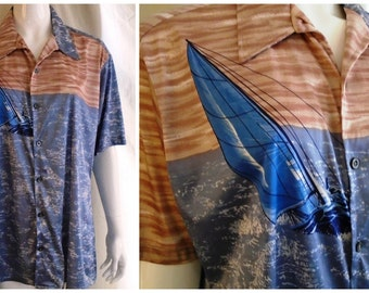Vintage 1970's Shirt Sailboat Print Sport Shirt Disco XL Oleg Cassini Novelty Print