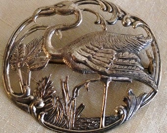 Vintage 1940s Sterling Flamingo Pin Large Detailed Brooch Tropical