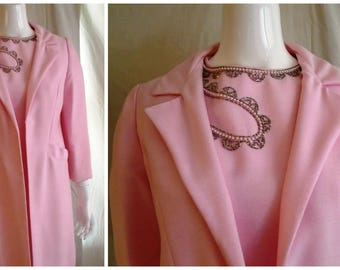 Vintage 1960s Dress and Coat Set Pink with Beading Wedding Guest