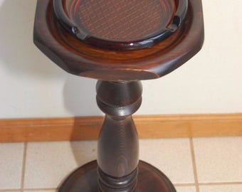 Vintage Cigar Ashtray Cigar with Amber Glass Wood Floor Pedestal
