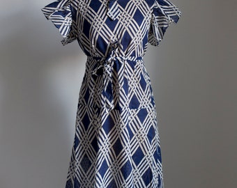 1930s Art Deco cotton voile day dress