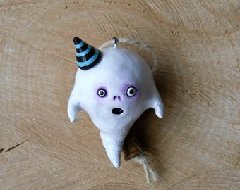 Halloween Clay Ghost Figurine - Polymer Clay Ghost Sculpture - Spooky Halloween Ornament - Spooky Ghost - Whimsical Halloween Decor - OOAK