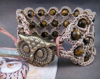 Bohemian crochet cuff bracelet with owl closure - Tigers Eye gemstone Gypsy Jewelry