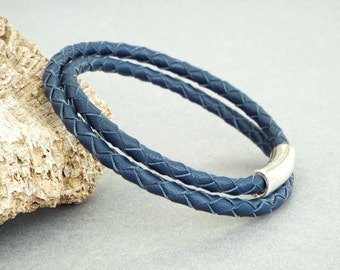 Mens Leather Bracelet, Braided Bracelet, Husband Gift, Boyfriend Gift, Anniversary Gift