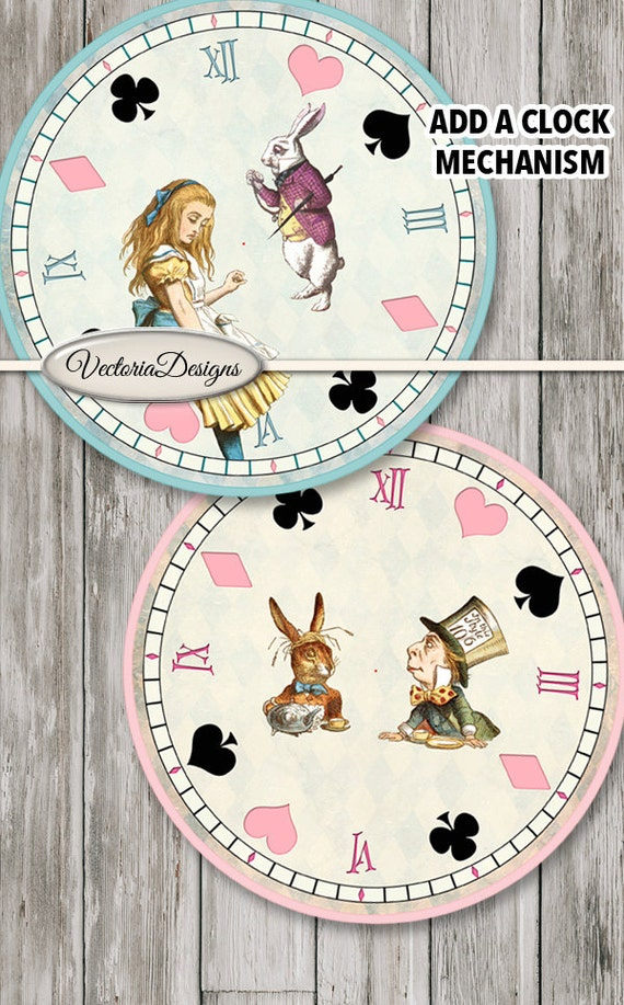 Alice in wonderland clocks printable diy paper crafting craft for Clock mechanisms for craft projects