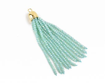 """Crystal Bead Tassel Charm Pendant, MINT Green AB crystals with GOLD cap, about 3"""" long, chg0612"""