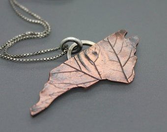 North Carolina Jewelry, North Carolina Necklace, NC Pendant, NC Leaves, Leaf Imprint, Leaf Jewelry, Leaf Necklace, State Necklace