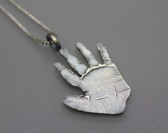 Fingerprint Jewelry, Handprint Necklace, Mom Necklace, Gift For Mom, Handprint Jewelry, Baby Handprint, Memorial Jewelry, Hand Print