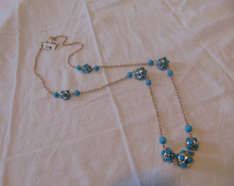vintage FRAGMENTS mfg. turquoise blue studded station beads necklace unused mint gold