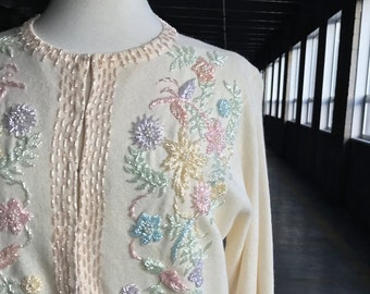 50s Pastel Beaded Cashmere Sweater