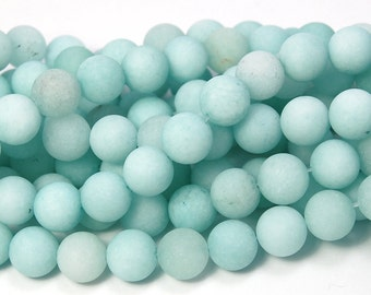10mm Amazonite Round Beads in Matte Ocean Blue-Green -15 inch strand