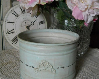 New Listing! Vintage Painted Antiqued Minty Green Container With Raised Bow and Handpainted Decor