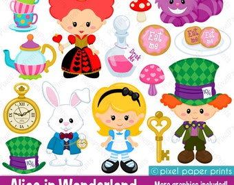 Alice in Wonderland Part 1 - Alice clipart - Clip Art and Digital paper set