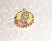 Vintage painting angel with golden halo art print image charm cabochon diy jewelry making