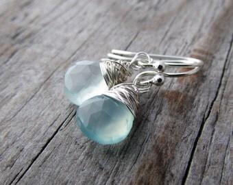 Small Earrings, sea green, aqua chalcedony, wire wrapped, briolette dangle earrings