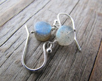 Labradorite Earrings, tiny labradorite coin beads, silver dangle earrings