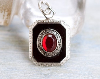 Red Ruby Cameo Necklace in Sterling Silver - 1970 Easton Area High School - Gothic Pendant of Chain