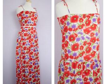 Vintage 1970's Red + Purple Poppy Tie Strap Maxi Dress L
