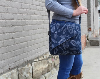 Nori Flap Messenger Slouch Bag with Adjustable Cross Body Bag - Navy Feathers -iPad Bag