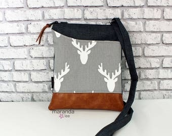 ZOE Messenger Cross Body Sling Bag Antlers Grey with Outside Pocket and PU Leather READY to SHIp