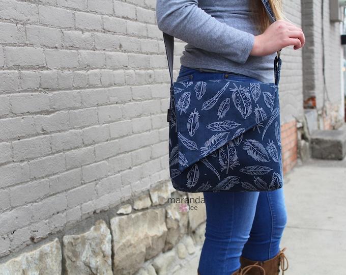 Nori Flap Messenger Slouch Bag with Adjustable Cross Body Bag - Navy Feathers -iPad Bag