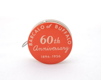 Vintage 1950's BarcaLounger Advertising Tape Measure - 1956 Celluloid Measuring Tape - Barcalo of Buffalo 60th Anniversary