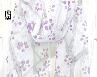 Summer Floral Scarf, Silk Scarf Floral Summer, Handpainted Silk Scarf, White and Purple Plum Blossom Scarf, Silk Scarves Takuyo, 8x54 inches