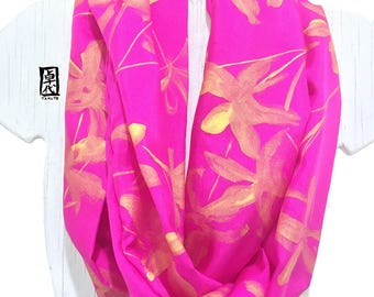 Hand Painted Silk Scarf, Pink Silk Scarf, Handmade Scarf, Circle Scarf, Gift for Her, Pink and Gold Wildflowers Scarf, 8x72 inch loop.