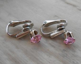 Vintage Pink Rhinestone Earrings. Clip On.  Wedding, Mom, Anniversary, Gift. Sale