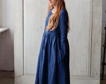 Plus Size Dress, Plus Size Clothing, Navy Dress, Blue Midi Dress, Oversized Dress, Loose Dress, Boat Neck Dress, Art Dress