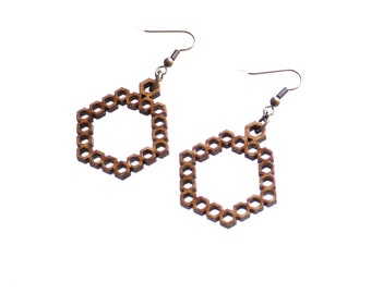 geometric pattern bamboo wood earrings - Bamboo Hexagon Earrings - 1 Ply.  natural bamboo eco friendly summer jewelry