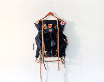 Vintage Mid Century Frame Pack Backpack European Travel Patches Blue