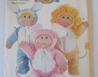 Vintage uncut Cabbage Patch Kids Butterick 391 and 3565 mouse bunny lion pajamas  boy clothes outfits doll  pattern iron on transfers