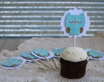 Owl Cupcake toppers, Baby Boy Cupcake Toppers, Baby Shower Cupcake Toppers, Baby Boy Shower Cupcake Toppers