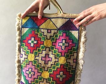 Exquisite 1920s Art Deco Multicolor Textile Purse Rare Vintage Colorful Geometric Tassel Pom Pom Fringe Handbag