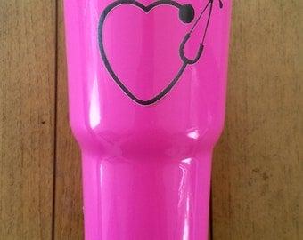 Nurse Laser Engraved, Hot Pink 30 oz RTIC Tumbler Stainless Steel