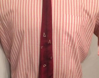 Vintage MENS red & black vertical striped silk skinny tie, with scattered mathematical symbols, circa 1950s-60s